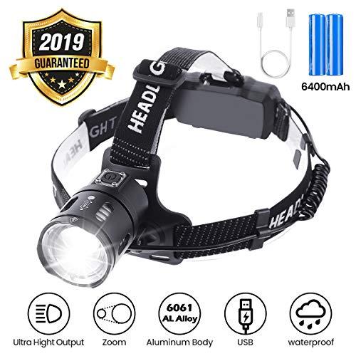 OUTERDO Stirnlampe LED, Kopflampe Zoom 3500 Lumen Ultrahohe Helligkeit mit USB 2 wiederaufladbaren Batterien 6400mAh wasserdicht, Stirnleuchte für Nacht Angeln Laufen Jagd Lesen Camping Wandern