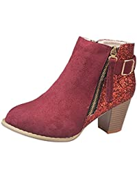 Ansenesna Stiefeletten Damen Mit Absatz Schwarz Blockabsatz Glitzer Elegant Schuhe Mit Reißverschluss Mode Vintage Für Frauen Mädchen