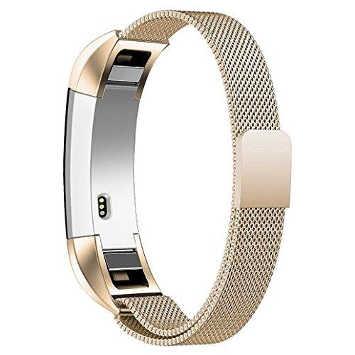 Fitbit Alta Armband ,Teorder Milanese Loop Metallarmband Edelstahl mit verstellbarem Verschluss Magnetverschluss Uhrenarmband / Austauscharmband /Sportarmband Set für Fitbit Alta HR / Fitbit Alta , für Herren / Damen (klein/groß) ,Champagner-Gold