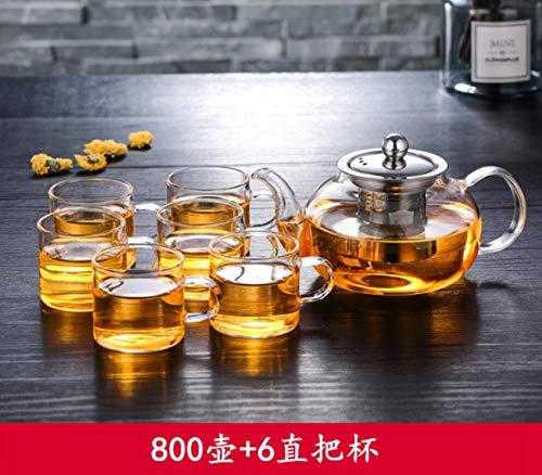 SHICHAHUZI Glas Teekanne, hochtemperaturbeständige Verdickung Teekanne, senden Sie 6 gerade Tassen,(800ml 10 * 11 * 9.5cm,800ml