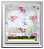 BAILEY JO Schön Raffrollo mit Frisch Blumen Druck Rollos Voile Transparent Vorhang (BxH 60x130cm, Pink mit U-Haken)