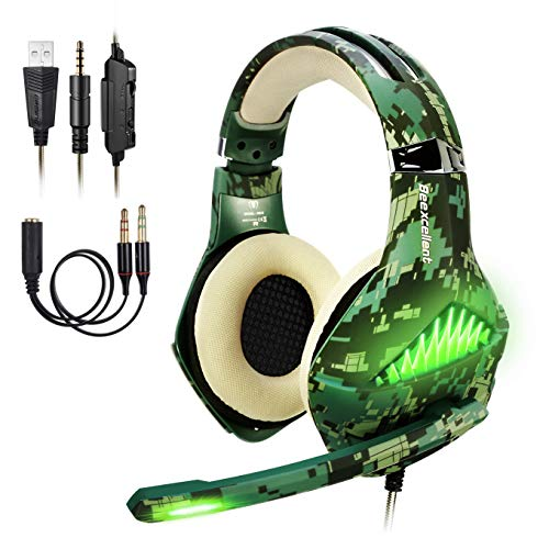 ShinePick Gaming Headset Camouflage, Headset für Xbox One, 3.5mm LED Licht Bass Stereo mit Weich Mikrofon Kopfhörer für PS4 Xbox One Nintendo Switch PC Laptop Mac Handy Tablet