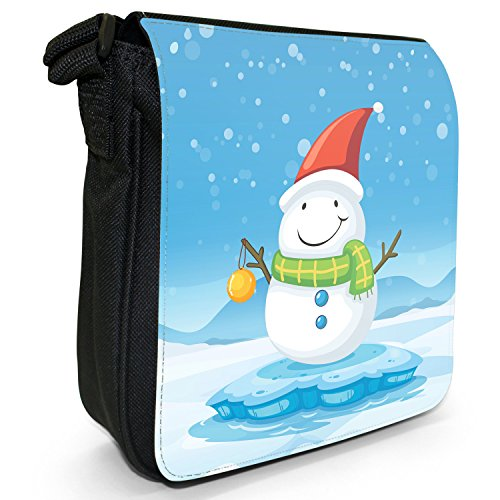 Joyful Christmas Time nella neve piccolo nero Tela Borsa a tracolla, taglia S Happy Snowman With Baubles