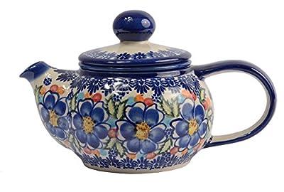BCV classique Boleslawiec, polonais poterie peinte à la main en céramique 2 tasses Théière avec Infuseur amovible 0.5 litre 019-U-097