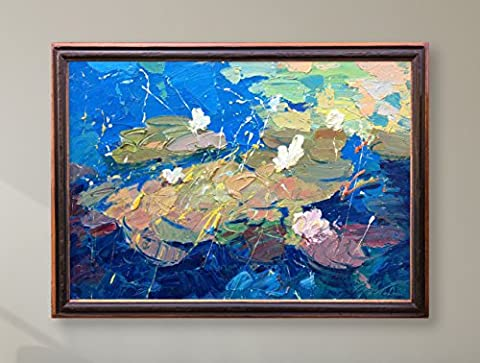 Water Lilies Original Oil Painting on Canvas with hand made