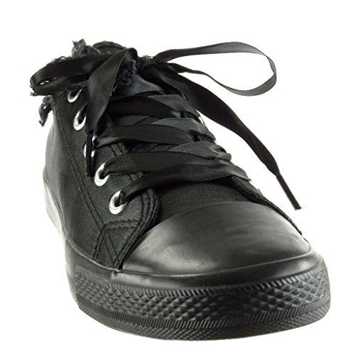 Angkorly - Scarpe da Moda Sneaker suola di sneaker donna Lacci in raso sfilacciato Tacco tacco piatto 2 CM Nero