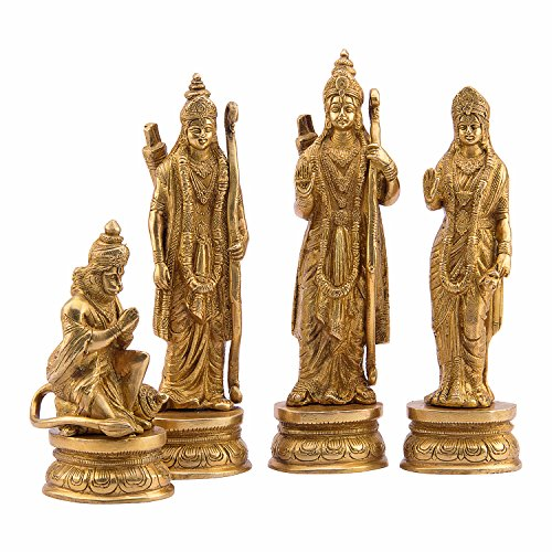 Ram Laxman (Royal Ram Darbar Set with super fine work on Brass in golden finish | Ram | Sita | Laxman | Hanuman)