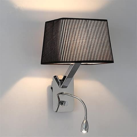 H&M Wall Lights Modern E27 Bedside Stainless Steel Wall Lamp And Adjustable LED Reading Lamp And Flannelette Lampshade With Switch Living Room Bedroom Hotel Wall Surface Mounted Sconces Decoration
