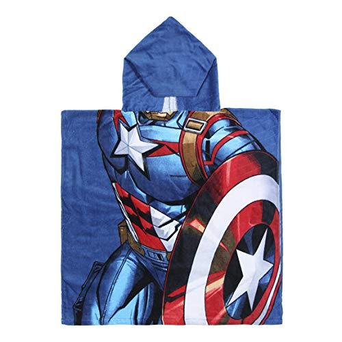Cerdá 2200003877 Poncho Algodón Avengers Capitan America Azul 50x115cm