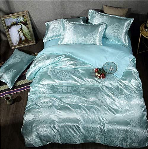 Stil Seide Bettbezug Set Bettwäsche Set Bettbezug Bettlaken Kissenbezüge Super King King Queen Blue 200x230cm (Royal Blue Queen Bettwäsche)