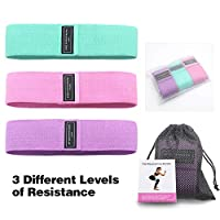 Decdeal 3pcs Exercise Resistance Bands for Legs and Butt Thicken Anti-Slip & Roll Workout Booty Bands Mini Hip Circle Loop Sliders Fitness Thigh Glute Bands