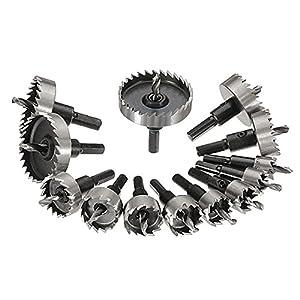 NUZAMAS – Juego de 13 brocas de metal de 16 a 53 mm, acero de tungsteno, para placa de hierro y madera de cobre
