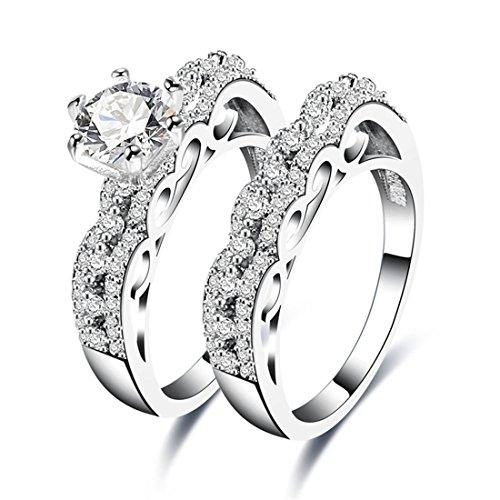 Versprechen Set Ring Krone (Cubic Zirkonia Ringe für Frauen Hochzeit Engagement Set Versprechen Ringe Eternity Band)