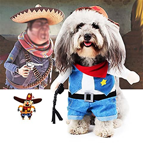 Aution House-Funny Pet Clothing - Police, Sailor, Cowboy Dogs Cat Costume Dress for Christmas, Birthdays, Weddings, Parades, Photo or play date- From Cat and Small Dog Clothes (XL, Cowboy)