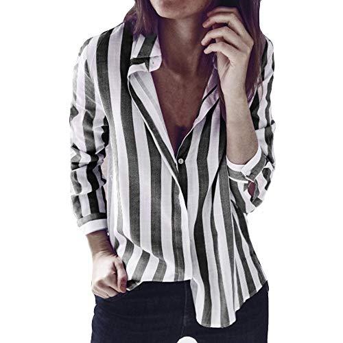 HARRYSTORE V-Ausschnitt Revers Gestreiftes Langärmeliges Hemd Mode Damen Gestreift Bedruckt Casual Top T Shirt Lose Langarm Bluse Funny Ruffle Sleeve Blouses Girls Halterneck T-Shirt (Dunkelgrau, L) Belted Ruffle Trim