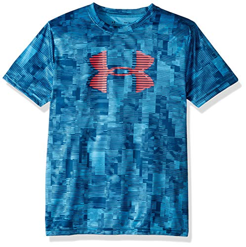 Under Armour Jungen Boys' Tech Big Logo Printed T-Shirt kurzärmelig, Ether Blue (452)/Red Rage, Jugend Small -
