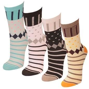 12 | 24 oder 36 Paar Damen Strümpfe mit dezentem Mustermix in 3 Farbkombinationen - Qualität von Lavazio®, Farbe:mehrfarbig - 12 Paar;Größe:35-38