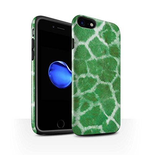 STUFF4 Glanz Harten Stoßfest Hülle / Case für Apple iPhone 8 / Lila Muster / Giraffe Tier Haut/Print Kollektion Grün