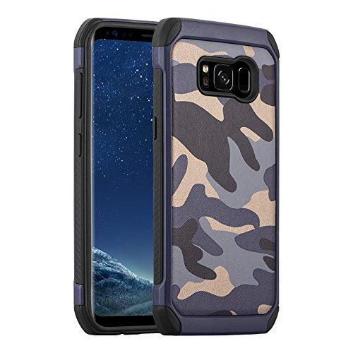 JammyLizarD Camouflage Hülle für Samsung Galaxy S8 Plus | Outdoor-Schutzhülle [Army HD] Military Case aus Silikon & Leder mit Tarnmuster, Blau