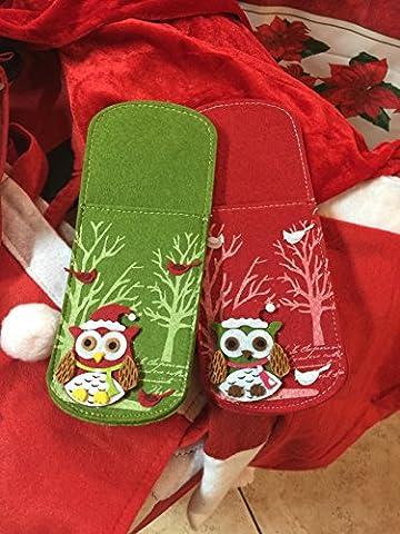La Fable enchantée ®–Set 6Pièces Rouge et Vert couverts feutrine décor chouette à relief artisanale Handmade Noël 2016Santa Claus Christmas cuisine Noël fabriqué en italie