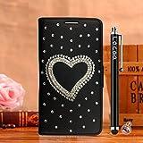 Locaa(TM) For Nokia Lumia 1020 Nokia1020 Lumia1020 3D Bling Case Funda 3 IN 1 Accesorios Funda Bumper Shell Caso Alta Calidad Piel Cuero Para Protector Dura Cover Cas [1] Negro - Amor
