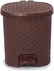 Cello Classic Plastic Pedal Dustbin, 12 Liters, Brown