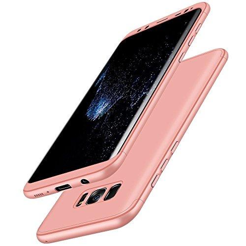 Qissy®Samsung Galaxy S8 Plus 3 in1 Bühne Allround Scrub Schutz Shell Cover Ultra Dünner PC Handy Hard Shell Case (Samsung Galaxy S8 Plus, Rose Gold)