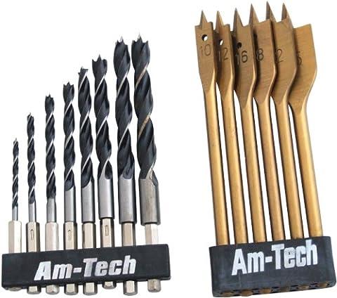 Am-Tech 14 Stück Hex Shank Wood Drill Set, F1740