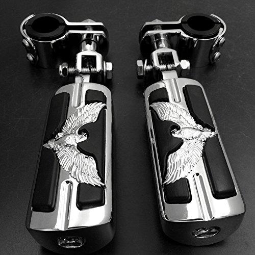 Marke New Eagle Hawk Form 2,5cm 1-1/10,2cm Highway Stiletto 4475Fußrasten Klammern für Honda Goldwing GL1800150011001200chrom Body Schwarz Gummi