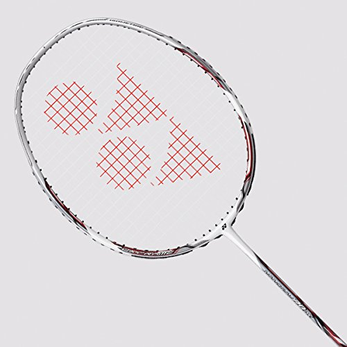 Yonex Nanoray 70DX Graphite Strung Badminton Racquet (White/Silver) with Full Cover Badminton Racquets at amazon