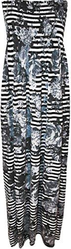 Womens Print Shirred Sleeveless Bandeau Boobtube Ladies Long Maxi Dress – Grey Striped – 12-14