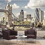 VVNASD 3D Murales Sfondo Parete Adesivi Decorazioni Fondo Europeo della Camera da Letto del Salone del Paesaggio della Città del Ponte di Londra di Stile Arte Ragazze TV (W) 400X(H) 280Cm