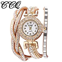 Round Diamond Bracelet Ladies Watch, Carolui Women Fashion Casual Analog Quartz Women Rhinestone Watch (B)
