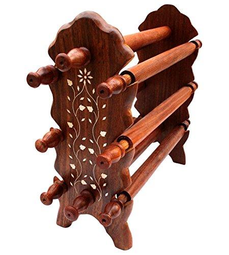 Indiabigshop hölzerne handgemachte Armreif stehen acht Stangen mit faltbaren Ständer für Frauen Hängen Sie ein Armband, Bangels für die Lagerung und verwenden Sie auch Schmuck-Shop oder Briefpapier Display Stand Organzier Größe 12 X 5 Zoll