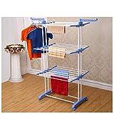 Kumaka Powder-Coated Steel Double Pole Cloth Drying Laundry Rack Stand, 8-inch (Blue)