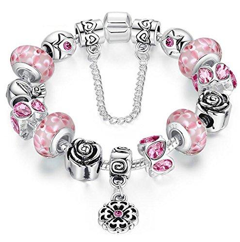 Rosa Glas Perlen Charm Armband mit Sicherheit Kette für Frauen Mädchen Schmuck ()
