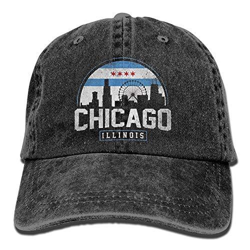 o City Flag Skyline USA Washed Denim Cotton Baseball Hat Sport Outdoor Adjustable One Size Black ()