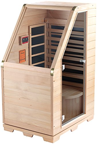 newgen medicals Kompakte Infrarot-Sitzsauna aus Hemlock-Holz, 760W, benötigt 0,62 m² -