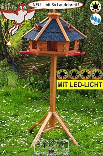 BTV Ölbaum Premium Massivholz-Vogelhaus Hellbraun/orange + 3X Landestation rot, groß, XXL mit Anflugbrett/Landebahn + LED - Beleuchtung/Licht, Massivholz,wetterfest, mit Silo/Futtersi