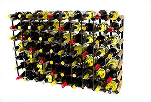 Klassisch 70 Flasche Nussbaum gebeizt Holz und schwarzem Metall Weinregal fertig montiert -