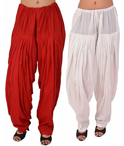 Bottomline Women's Cotton Patiala Salwar Combo ( White & Red _Free Size)