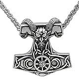 NECKLACE - Colgante de acero inoxidable con diseño de amuleto de cabra vikinga y martillo de Thor, de Mjolnir, Steampunk, Pagan escandinavo