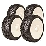 James Racing Komplettset Buggy Racing Reifen Dot Evo Soft mit Dish Felge weiß 1:8 J08B02S2I & J-W01   Maßstab 1:8 Buggyreifen [830040]
