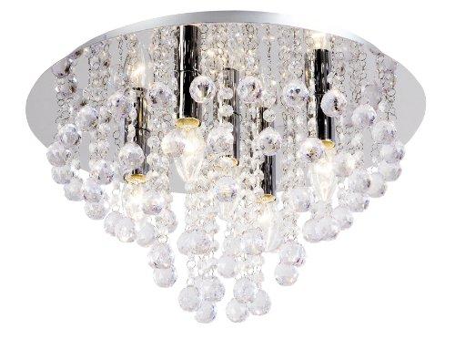 Nino Leuchten Deckenleuchte London/Durchmesser: 46 cm/Chrom, Glasbehang / 5-flammig 63040506