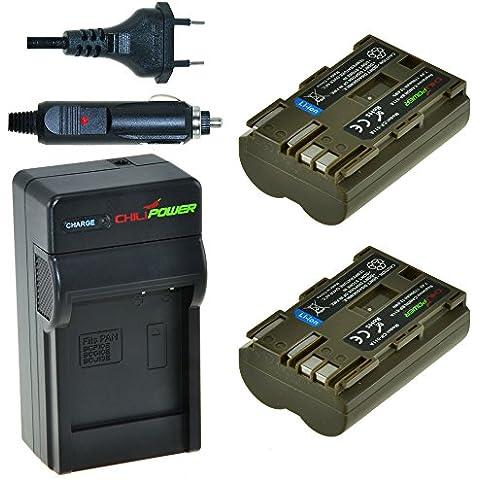 2x Batería + Cargador ChiliPower Canon BP-511, BP-511A 1700mAh para Canon EOS 5D, 10D, 20D, 20Da, 30D, 40D, 50D, 300D, D30, D60, Rebel, PowerShot G1, G2, G3, G5, G6, Pro 1, Pro 90, Pro 90 IS, FV10, FV100, FV2, FV20, FV200, FV30, FV300, FV40, FV400, FV50, FVM1, FVM10, Optura 10, Optura 100MC, Optura 20, Optura 200MC, Optura 50MC, Optura Pi, Optura Xi, PV130, ZR10, ZR20, ZR25, ZR25MC, ZR30, ZR30MC, ZR40, ZR45MC, ZR50MC, ZR60, ZR65MC, ZR70MC, ZR80, ZR85,