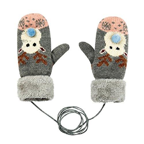 Kinder/Kids Winter Warm Strick Handschuhe grau (Magic-handschuhe Dehnbare)