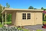 Carlsson Gartenhaus Maria mit Anbau PARENT (Wandstärke 40 mm mit Schleppdach, OHNE)