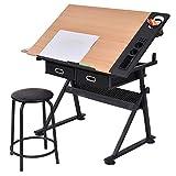 Blitzzauber24 Table à Dessin inclinable avec Tabouret Multifonctionnel métal Hauteur réglable