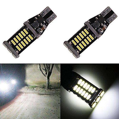 Taben Lot de 2 1000 lumens extrêmement lumineux CANBUS sans erreur 921 912 T10 T15 W16 W Ak-4014 30 pcs Chipsets ampoules LED pour lampes de sauvegarde inverse, Xenon Blanc 6000 K