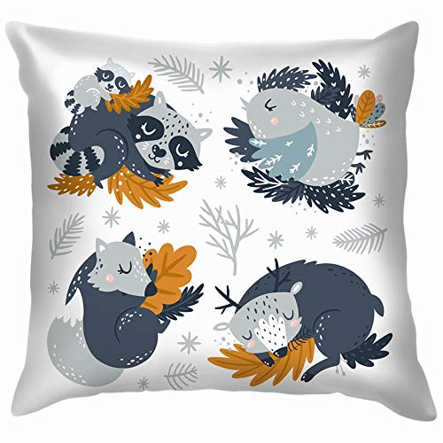 imals Baby Collection Woodland Wildlife The Arts Soft Cotton Linen Cushion Cover Pillowcases Throw Pillow Decor Pillow Case Home Decor 18X18 Inch ()